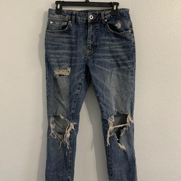 Zara - Distressed High Waisted Skinny Jeans